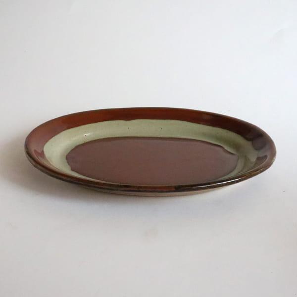【大塚雅淑】柿釉抜き紋楕円皿