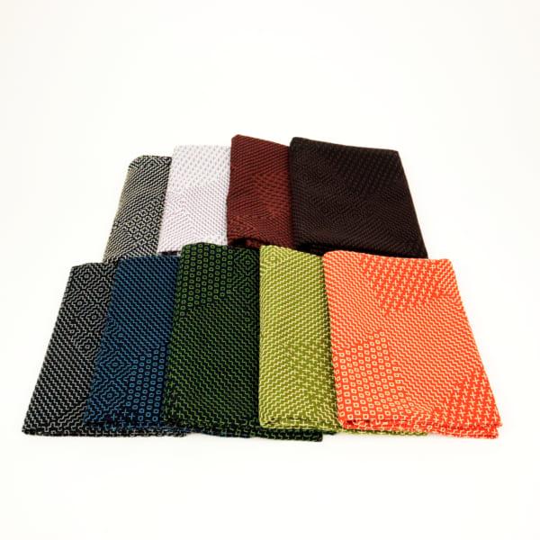 三和織物 袱紗 緑×生成り