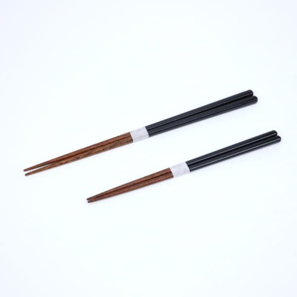 益子色の箸 黒釉