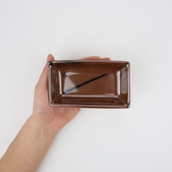 【萩原芳典】柿釉長角鉢