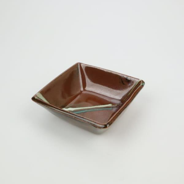 【萩原芳典】柿釉角鉢 小