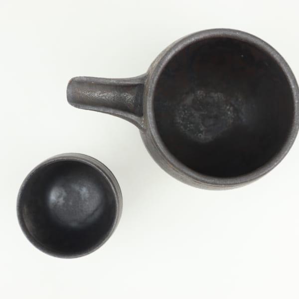 【萩原 芳典】黒釉片口ぐい吞セット